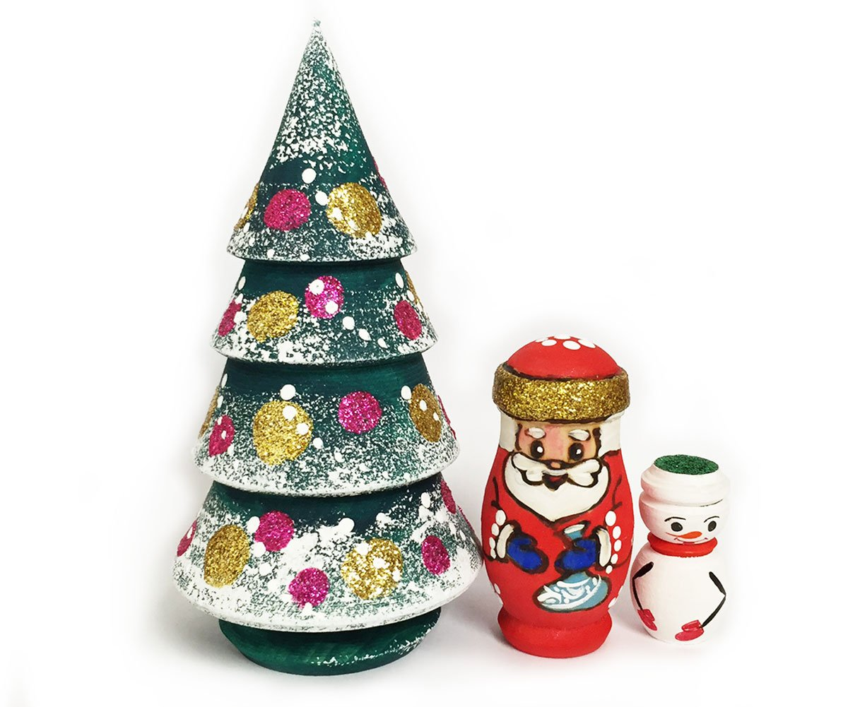 Christmas Wooden 3 Nested Tree With Santa Claus and Snowman Inside 4 1/4 Inch
