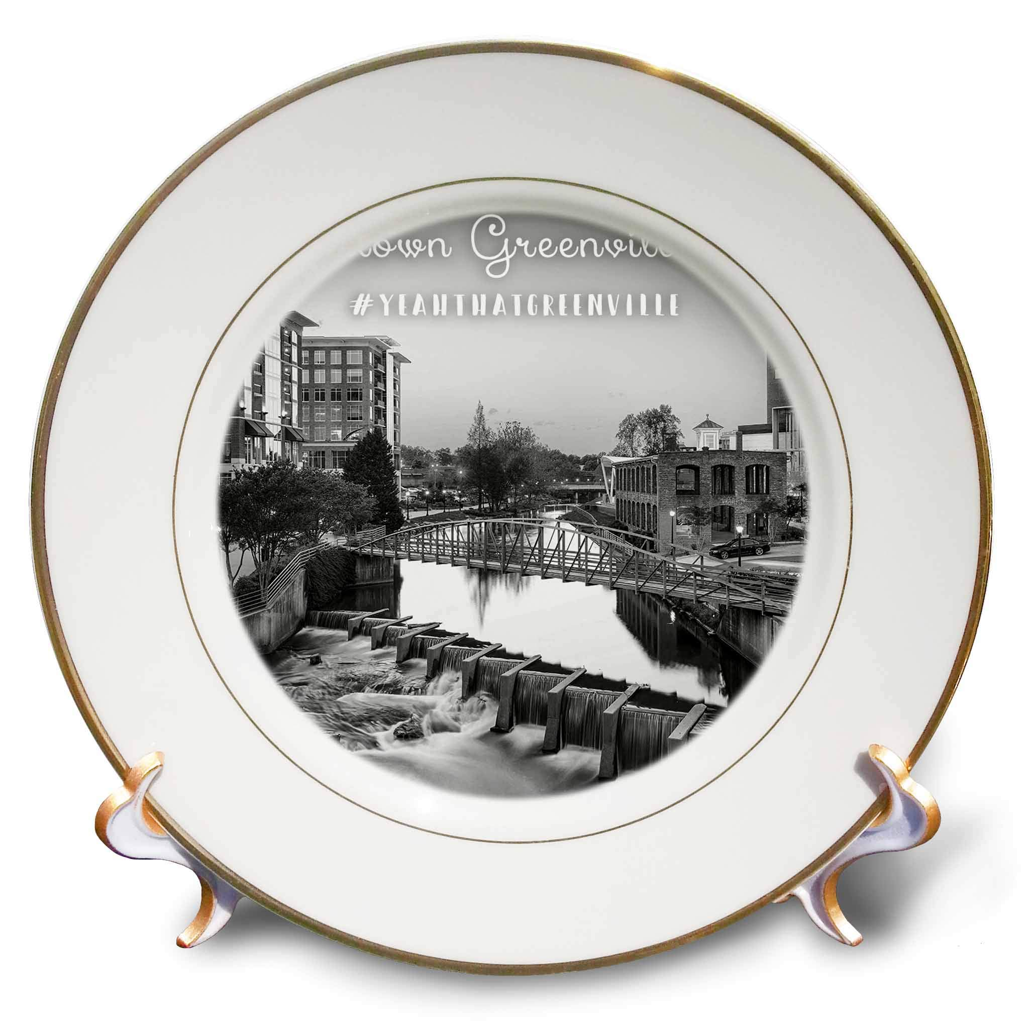 3dRose Stamp City - Landscape - Black and White Photograph of Downtown Greenville in South Carolina. - 8 inch Porcelain Plate (cp_292967_1)