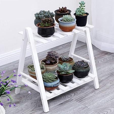 Estante de exhibición de madera para estantes de exhibición para el jardín en casa Balcón Práctico Escalera para plantas Estante de interior Escaleras para plantas de 2 niveles Estante para flores: Amazon.es:
