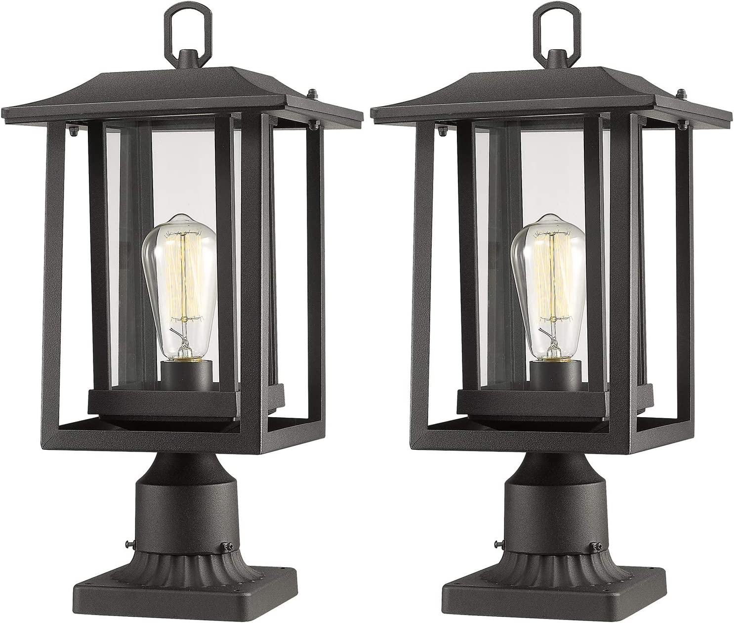 Beionxii Outdoor Post Light Fixture, 2-Pack Large Exterior Post Lantern with 3-Inch Pier Mount Base, Sand Textured Black with Clear Glass(8.9
