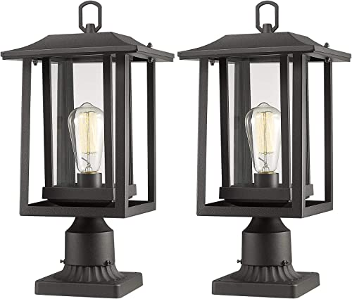 Beionxii Outdoor Post Light Fixture, Set of 2 Large Exterior Post Lantern with 3-Inch Pier Mount Base, Sand Textured Black with Clear Glass 9 W x 16.75 H – A197P-2PK