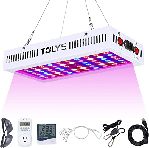 TOLYS LED Grow Light, 1000W LED Plant Grow Lights for Indoor Plants, Full Spectrum Dual Chip Design Grow Lamps, Double Switch Veg and Bloom, with Humidity Monitor, Timer, Adjustable Rope and Glasses