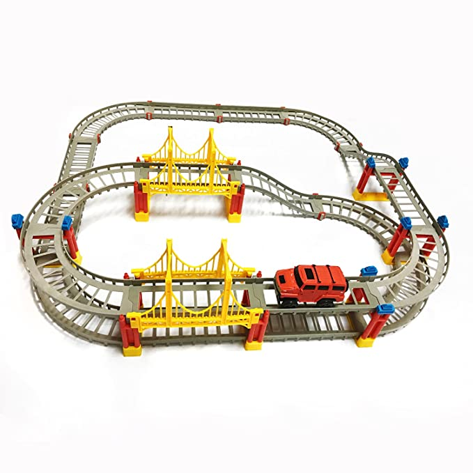 75 pcs Flexible Race Tracks Car Toy Set, DIY Puzzle Construction Transportation Building Electric Driver Car Gift Toy Set for Kids