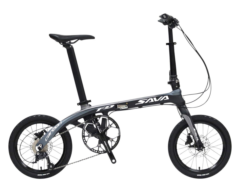 SAVANE(サヴァーン) Carbon8 FDB169 東レT700カーボンフレーム 16インチ 折りたたみ自転車 ブラック/グレー シマノSORA9段変速 前後油圧ディスクブレーキ 89213-0199   B07HX6NQ2F