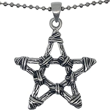 Pentagram Magical Symbol Charm Pendant Necklace on Silver Plated Chain and Bail