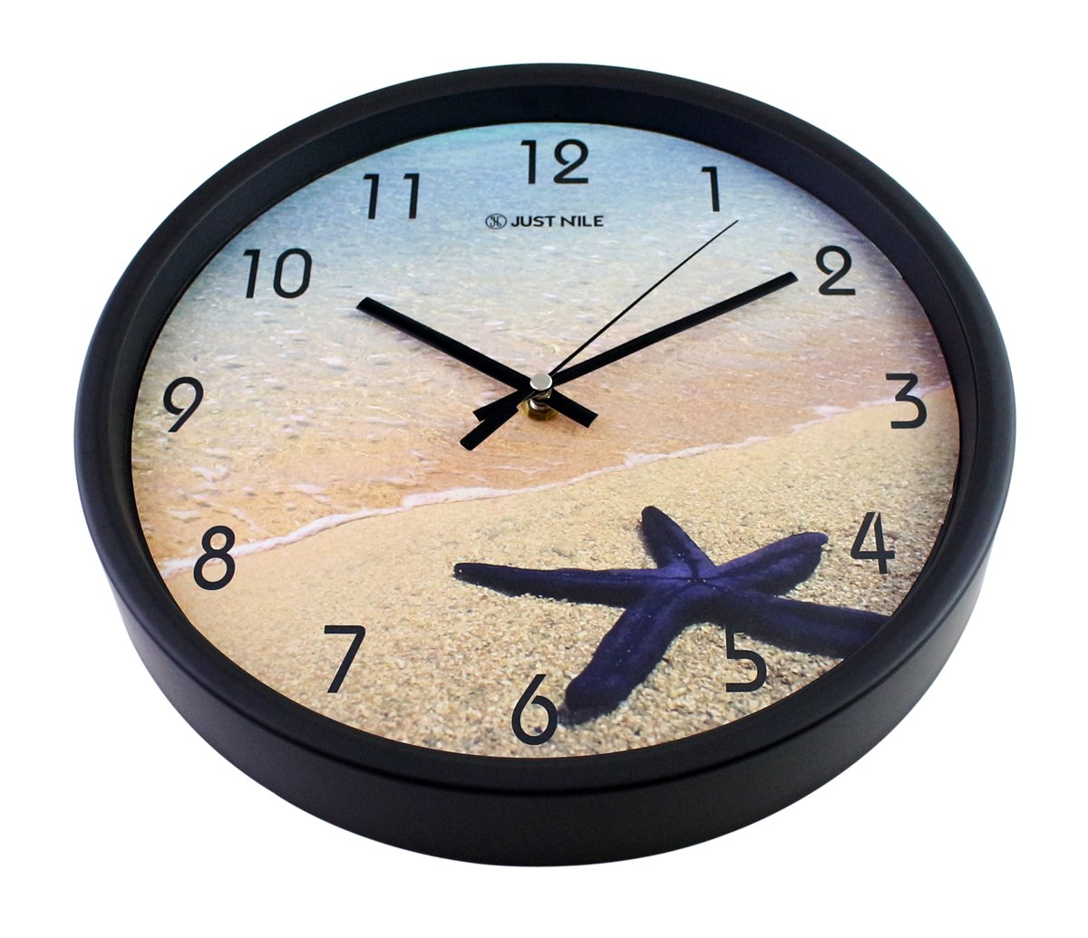 Beach Theme with Starfish Pattern Design JustNile 12-inch Nautical Silent Battery Operated Round White Plastic Analog Wall Clock