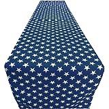 ArtOFabric Decorative Cotton Patriotic Stars Table Runner 12x90 Inches -Navy Blue