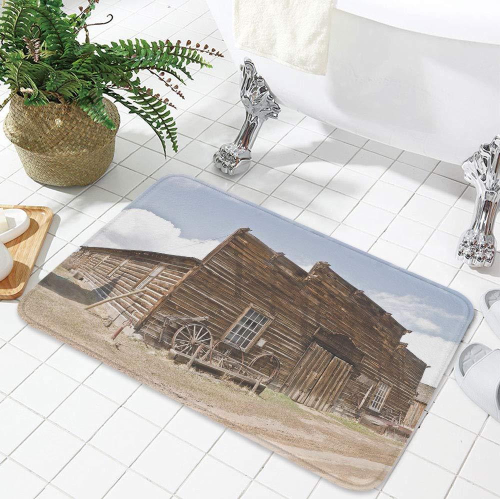 YOLIYANA Custom Carpet,Barn Wood Wagon Wheel,for Children Bedroom Corridor,23.62''x35.43'',Abandoned Mercantile with Wagon Wheels Ghost