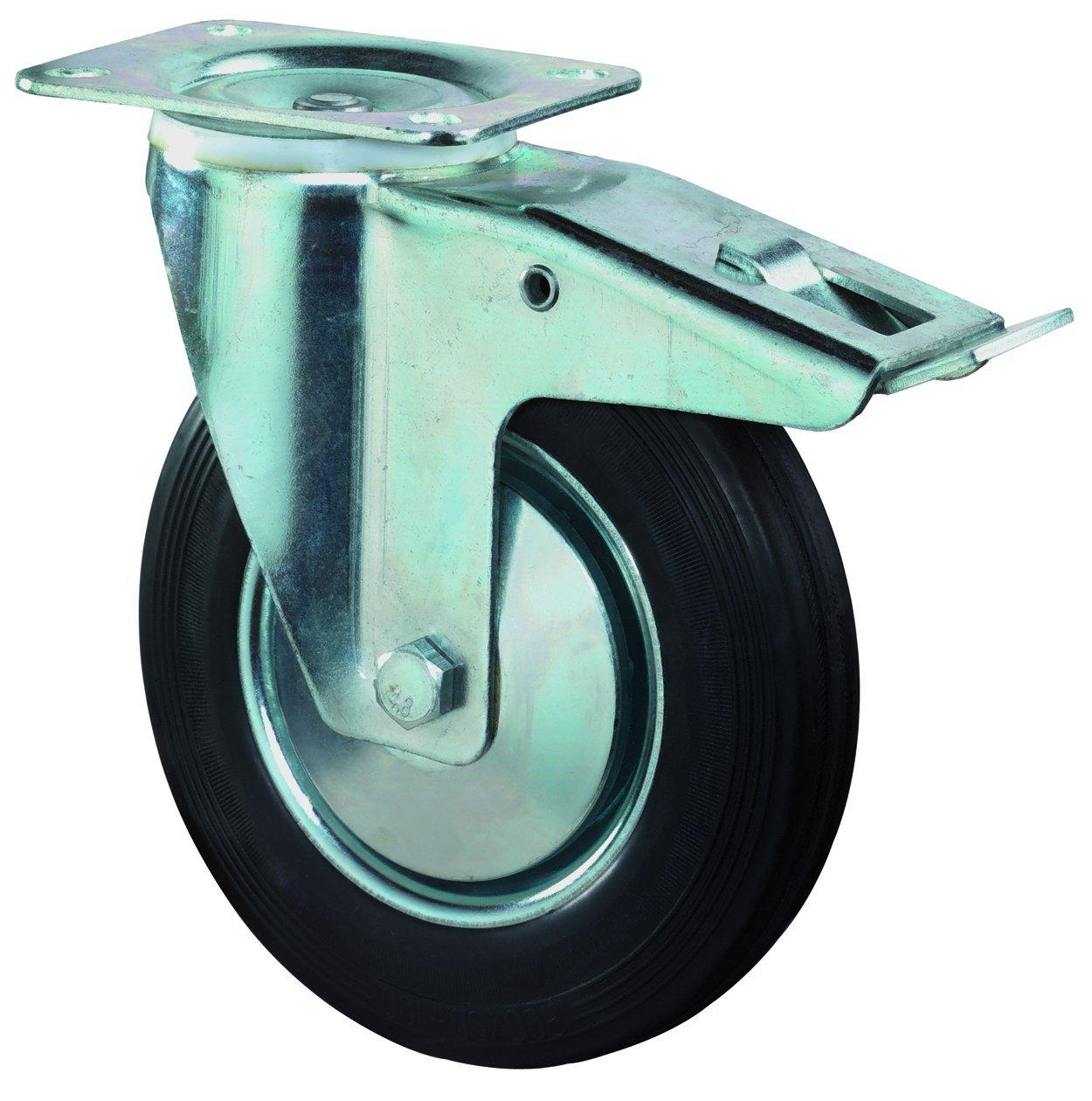 Rollenlager /Ø 200 mm Radk/örper Stahl BS Rollen B55.200 Gummirad schwarz