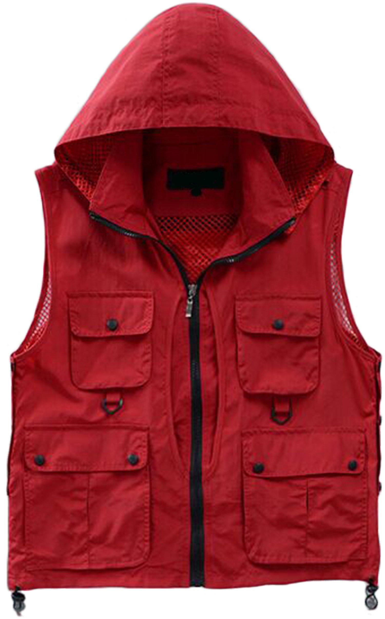 Aspon Men's Pockets Jacket Outdoors Travels Vest Hooded Red Large