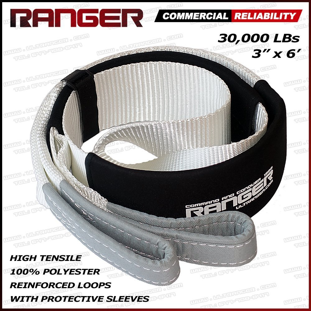 Ranger 3' x 6' Tree Saver Strap for Tow Winch Recovery Heavy Duty with Reinforced Loops + Protective Sleeves 30, 000 lb Breaking Capacity 13.6 Tons Ultranger
