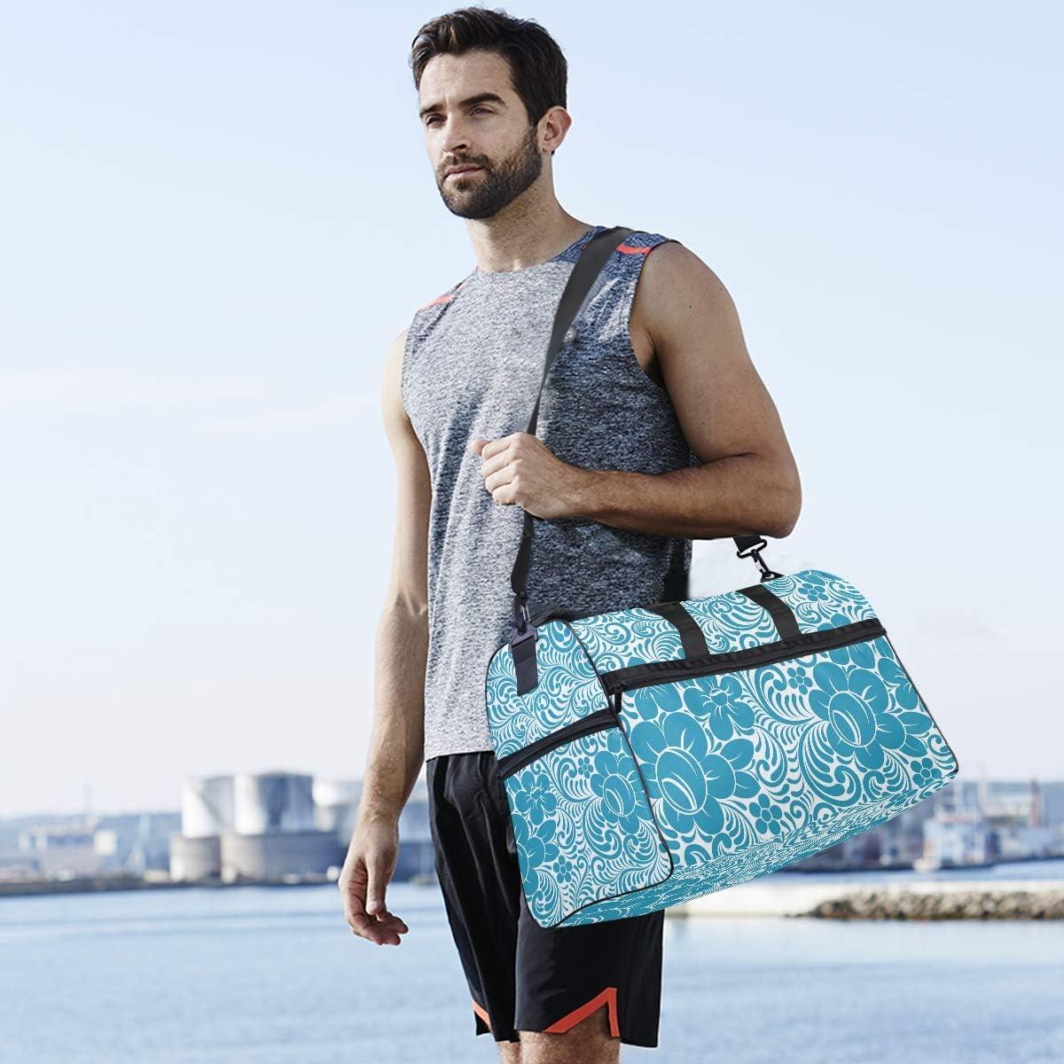 FANTAZIO Blue Floral Pattern Sports Duffle Bag Gym Bag Travel Duffel with Adjustable Strap