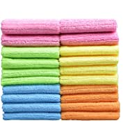 Sinland Household Multi-Purpose Cleaning Cloths Microfiber Dish Cloths with Stripe 30cmx30cm 20 Pack