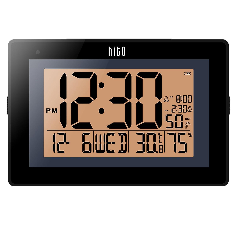 HITO - Reloj de Pared con Alarma Doble y Control de Radio Extra Grande con función de horario automático, luz Nocturna automática, Brillo Ajustable, ...