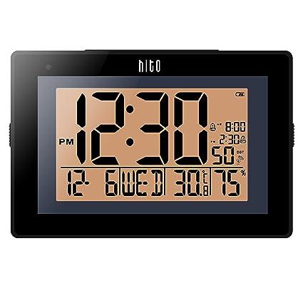 HITO - Reloj de Pared con Alarma Doble y Control de Radio Extra Grande con función