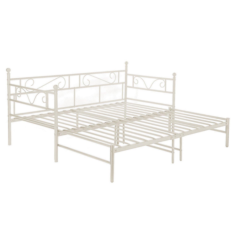 EGGREE Tagesbett Versailles Weiß Metall Single Sofa Optionen für Ausziehbett, Tagesbett mit Unterbett Trundle,Elfenbein Beige