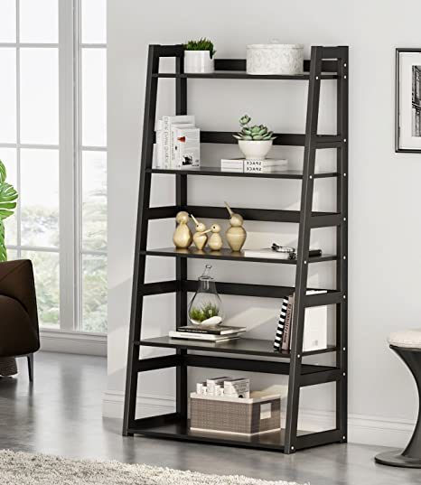 Tribesigns 5-Tier Bookshelf Modern Bookcase, Freestanding Leaning Ladder  Shelf for Living Room Home Office, Large Storage Capacity (Black)