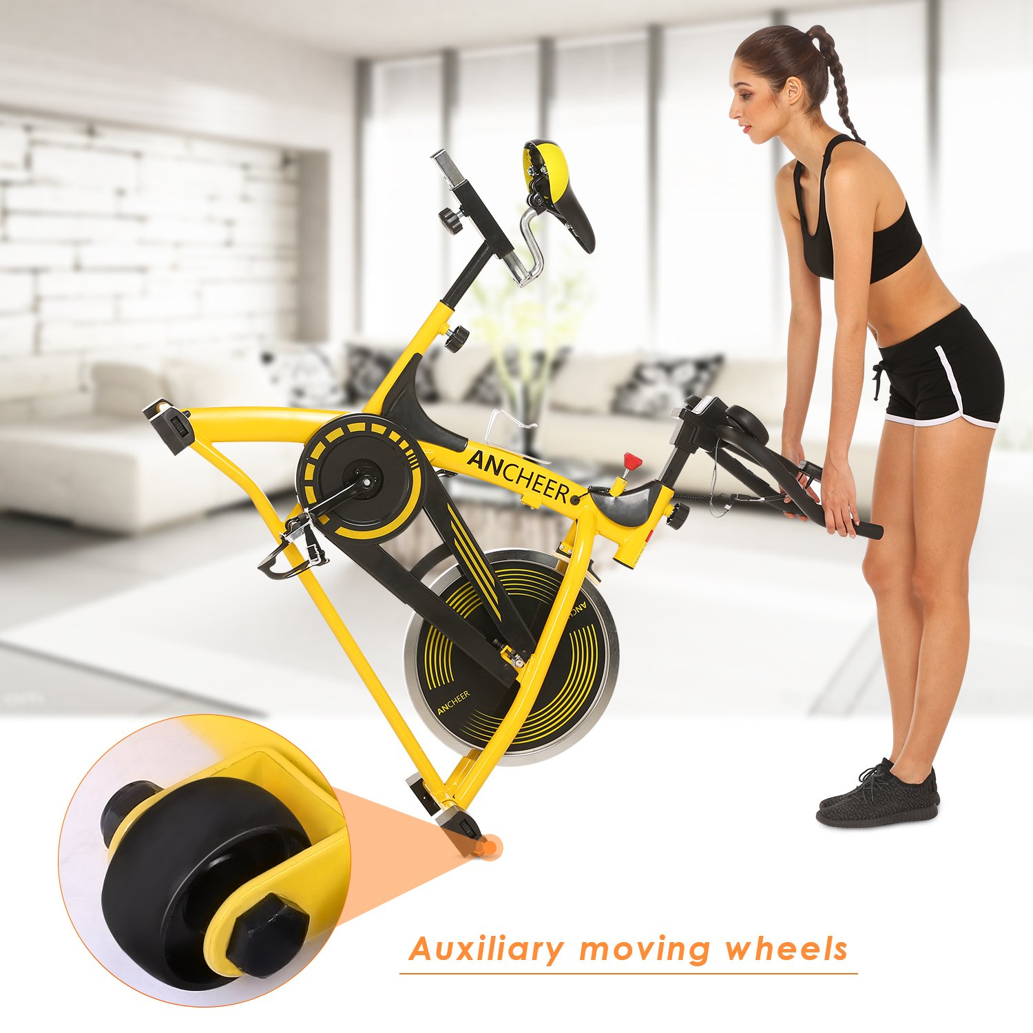 ANCHEER Stationary Bike, 40 LBS Flywheel Belt Drive Indoor Cycling Exercise Bike with Pulse, Elbow Tray (Model: ANCHEER-A5001) (Yellow) by ANCHEER (Image #8)