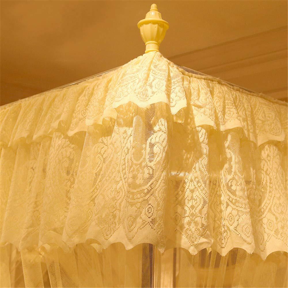 Mosquito net Bedroom Single Bed Gauze Three Door Home Princess Room Floor-Standing Stainless Steel Bracket Decorative Tent, Yellow, 1.8M by Lostryy-Mosquito Nets Baby (Image #3)