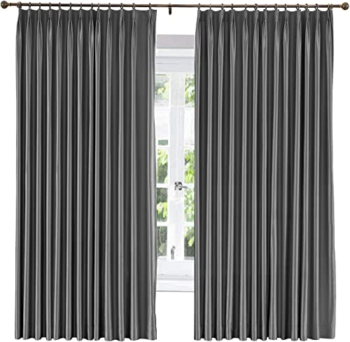 ChadMade Soundproof Energy Saving Polyester Cotton Silk Solid Curtain Dark Grey 120″ W x 102″ L