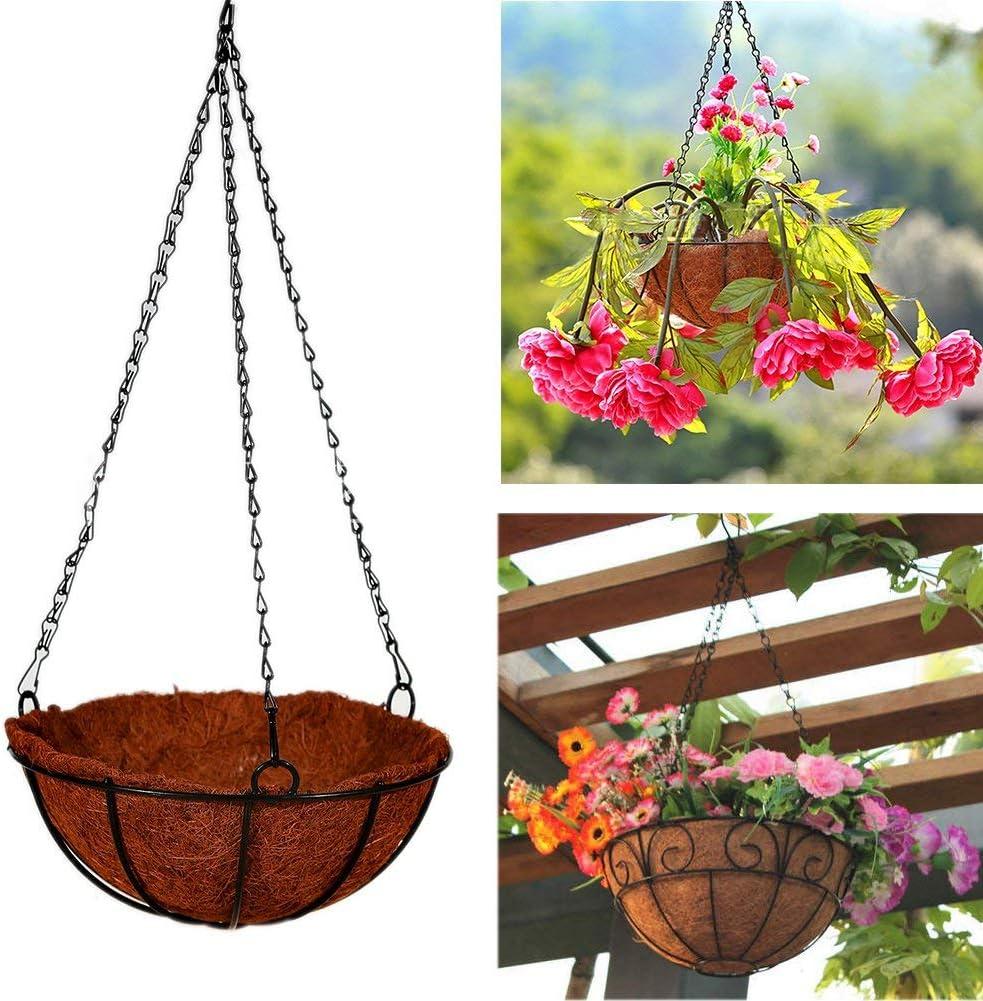 Giveme5 Iron Coconut Palm Hanging Basket with Chain Flowerpot Plants Flower Holder Organizer for Home Garden Wedding Decoration 8-16 inch 10 inch