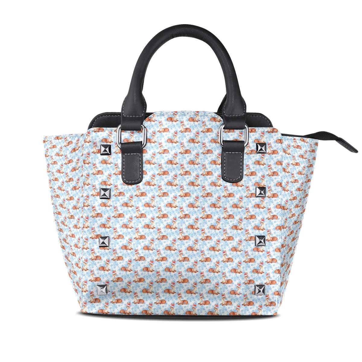 Design2 Handbag Cute Raccoon Cat Genuine Leather Tote Rivet Bag Shoulder Strap Top Handle Women