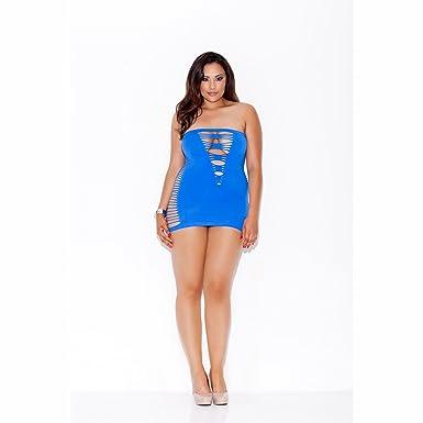 Amazon.com: Seamless Shredded Mini Tube Dress (Blue;Plus ...