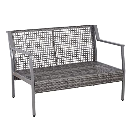 Groovy Amazon Com Grey 2 Seated Pe Rattan Wicker Patio Creativecarmelina Interior Chair Design Creativecarmelinacom