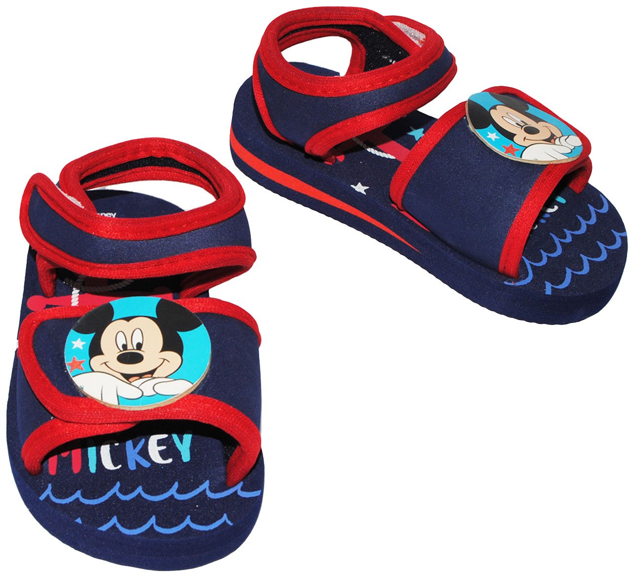 alles-meine.de GmbH Badeschuhe / Sandalen - Gr. 26 / 27 -  Disney Mickey Mouse - mit Klettverschluss / Fersen Riemchen - Riemchensandalen - Rutschfeste Schuhe Schuh / mit Prof..
