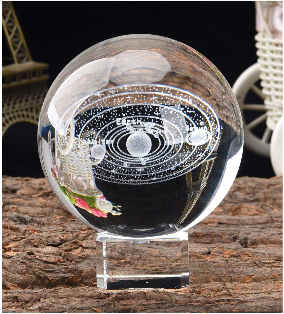 Aircee 3D Model of Solar System Crystal Ball, Decorative Planets Glass Ball with A Stand, Great Gifts, Educational Toys, Home Office Decor, Galaxy Sphere with Gift Box