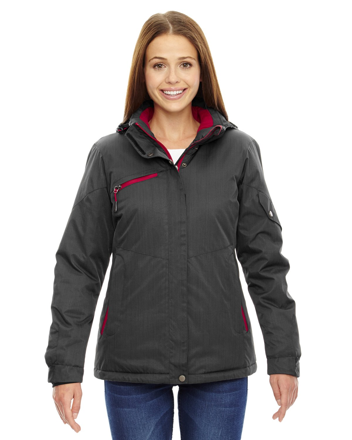 Ash City Apparel North End Rivet Ladies Insulated Jacket (Medium, Carbon/Classic Red)