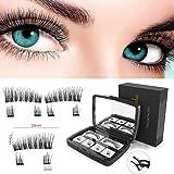 Magnetic Eyelashes, Aikating Newest Dual Magnetic False Eyelashes for Full Eye,Ultra-thin 0.2mm Fake Eyelashes, Natural Look, 3D Fiber Reusable Fake Lashes, Soft, Long & Thick, No Glue+Tweezers
