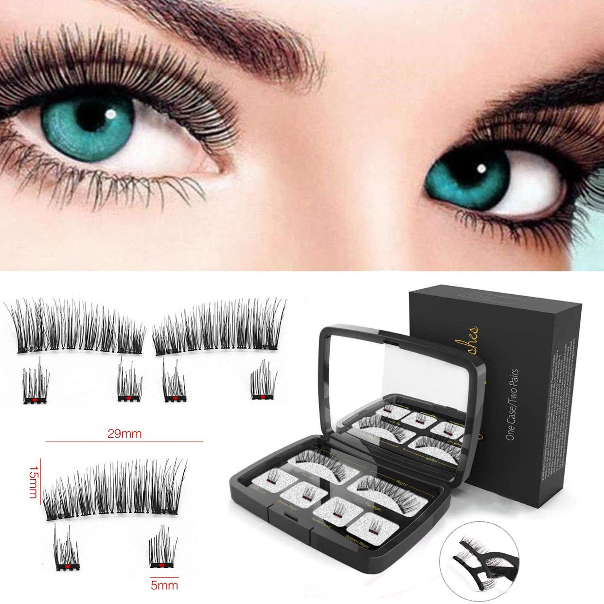 Magnetic Eyelashes, With Tweezer & Mirror, No Glue, Soft, Long & Thick, Natural Look, 3D Fiber Reusable Eyelashes, Ultra-thin Dual Magnetic Eyelashes for Full Eye Aikating 20180519-1