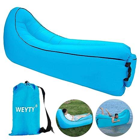 Sofa Hinchable,WeyTy tumbona hinchable sofa inflable,portátil impermeable ligero poliéster aire sofá inflable ocioso,aire cama Tumbona de playa para ...