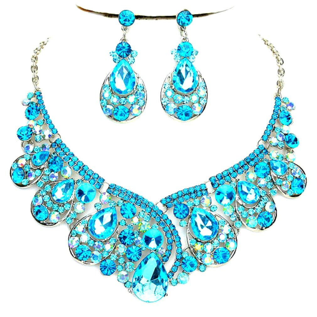 Affordable Wedding Jewelry Aqua Blue Ab Rhinestone Statement Silver Chain Necklace Earrings Set