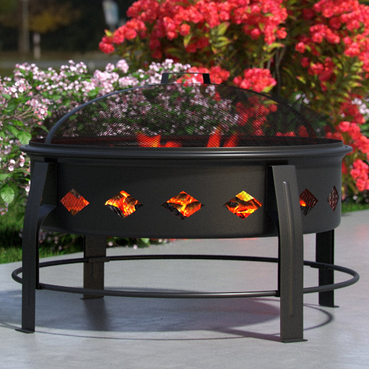 "Regal Flame Cosmic Flame 27"" Portable Outdoor Fireplace Fire Pit For Backyard Patio Fire Bowl, Includes Safety Mesh Cover, Poker Stick, Great for Camping, Outdoor Heating, Bonfire, Picnic by Regal Flame (Image #1)"