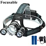 CAMTOA 5000LM Focusable Led Headlight,3 LED 3 X T6 Rechargeable Headlamp + 2R5 LED Head lamp 4 Modes Headlight Flashlight Torch For Outdoor Sports Camping Biking Hunting Fishing (Black C)