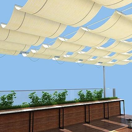 GDMING Vela De Sombra Ola Pabellón Retráctil Al Aire Libre Patio Terraza Toldo Reemplazo Cubierta De Pérgola Protección UV Permeable Poliéster,30 Tamaño Versión Actualizada 2020: Amazon.es: Hogar