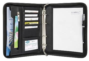 Wedo 585101 - Organizador (archivador de 4 anillas, tamaño A5, soporte para documentos, tarjetero, cierre con cremallera), color negro: Amazon.es: Oficina y ...