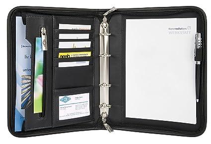 Wedo 585101 - Organizador (archivador de 4 anillas, tamaño A5, soporte para documentos, tarjetero, cierre con cremallera), color negro