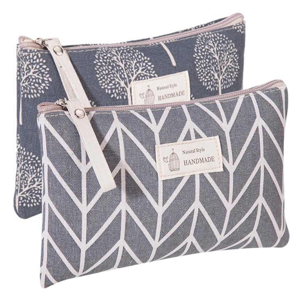 Kimoli 2 Pcs Women Funny Makeup Bag Cute Cosmetic Bag Pouch for Purse Toiletry Bag