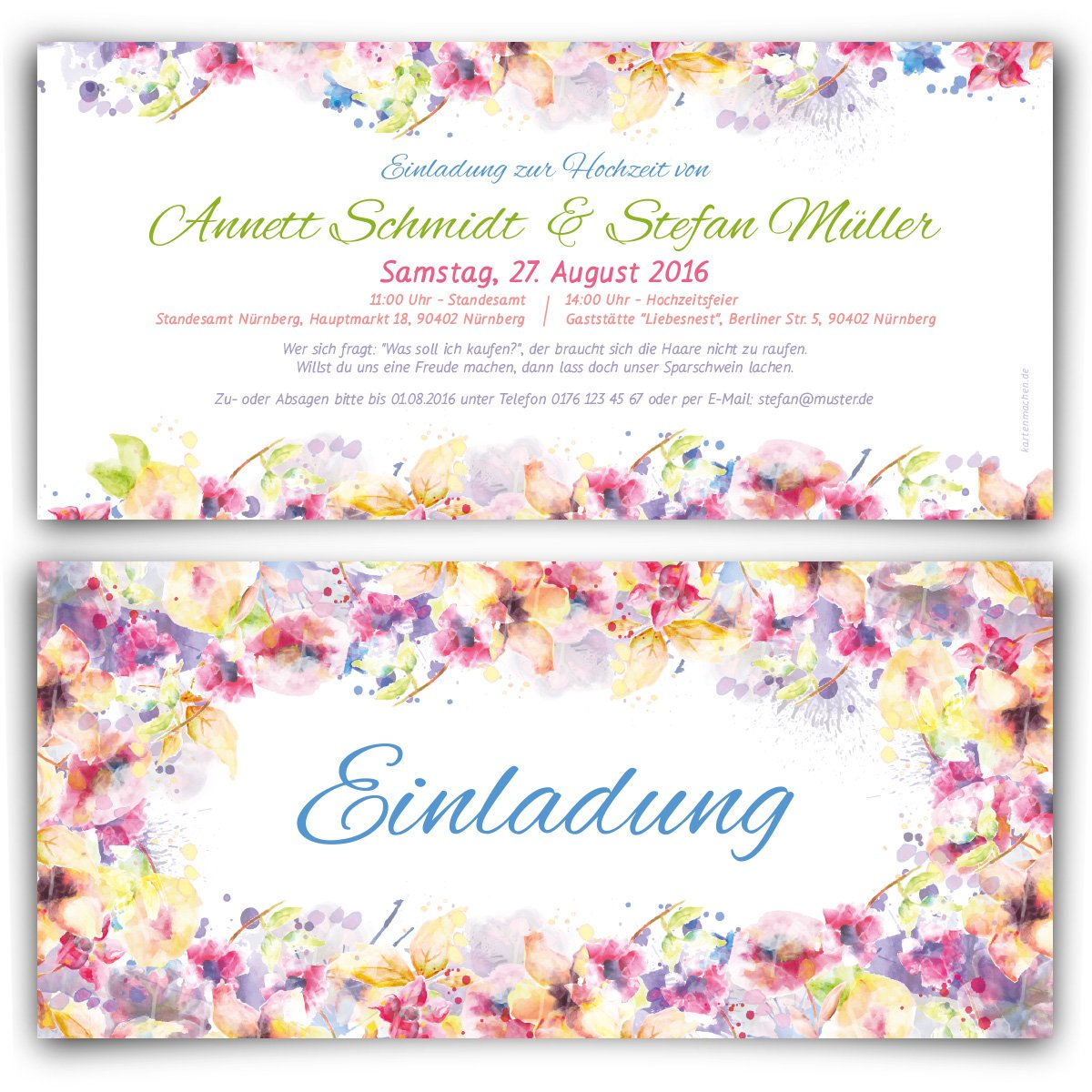 Flower Watercolour Wedding Invitations Invitations Pack Of 80