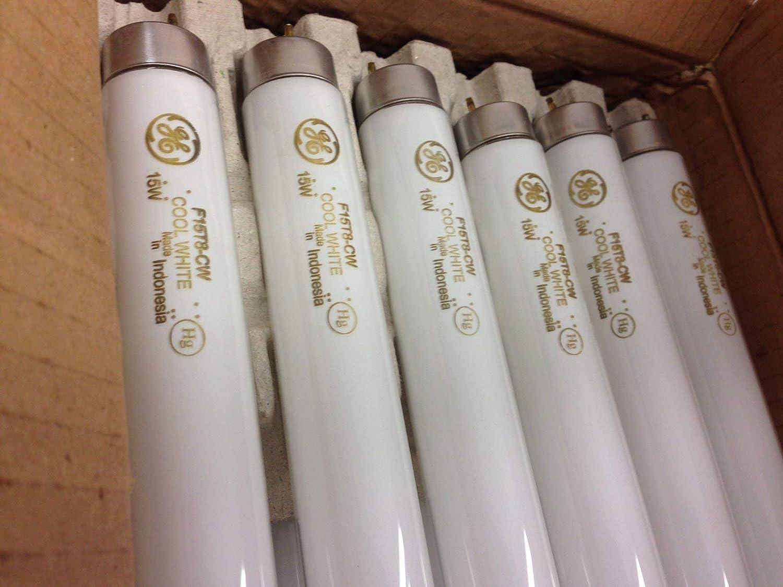 GE Lighting 10142 T8 Straight Linear Fluorescent Lamp 15 Watt 2-Pin G13 Base 825 Lumens 60 CRI 4100K 18 Inch Length Cool White Starcoat