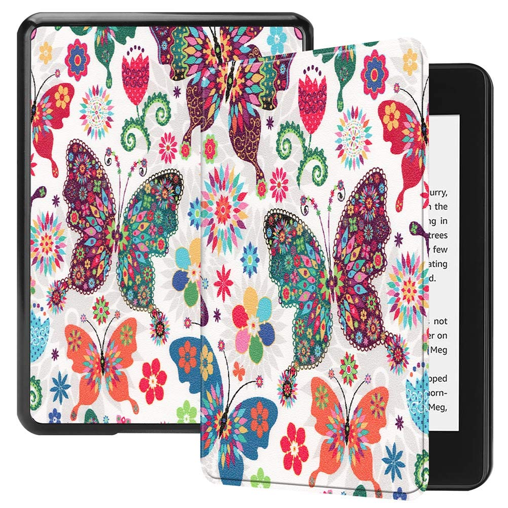 Case for Kindle Paperwhite 10th 2018, Premium Leather Slim & Light Flip Protective Smart Cover [Auto Wake/Sleep] for All-New  Kindle Paperwhite 10th Generation 2018 Release, Colorful Butterfly YEARN MALL US Y-KPNS-KD PW 2018-caihui-02