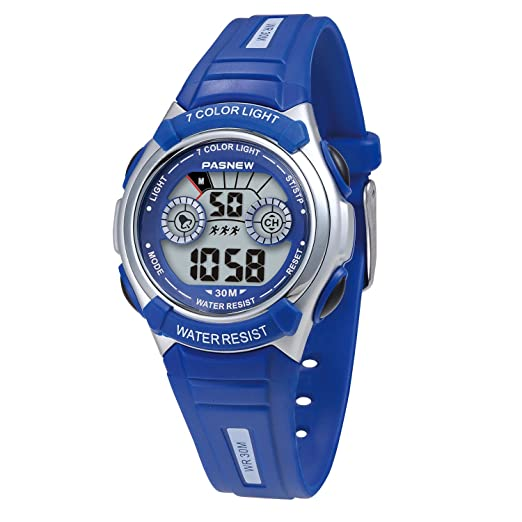 Reloj de pulsera digital multifunción resistente al agua, 7 colores, retroiluminado, para niños y niñas: Amazon.es: Relojes