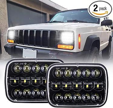 DOT Pair 7x6 CREE 15 LED Black Sealed Headlights For Jeep Cherokee XJ YJ
