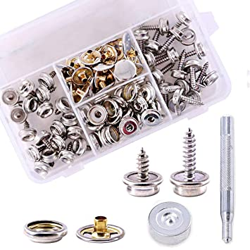 Amazon Com 120pcs 40 Sets Fastener Screw Snaps Stainless Steel