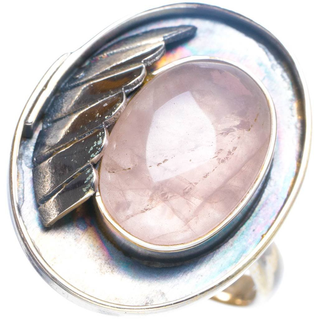 Natural Rose Quartz Handmade Unique 925 Sterling Silver Ring 8.75 Y4180