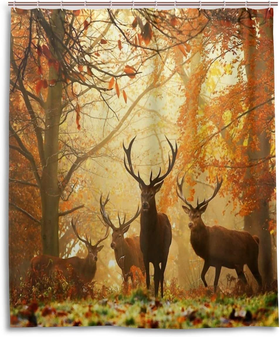 Autumn Forest Deer Scenery Shower Curtain Set Waterproof Polyester Fabric Hooks