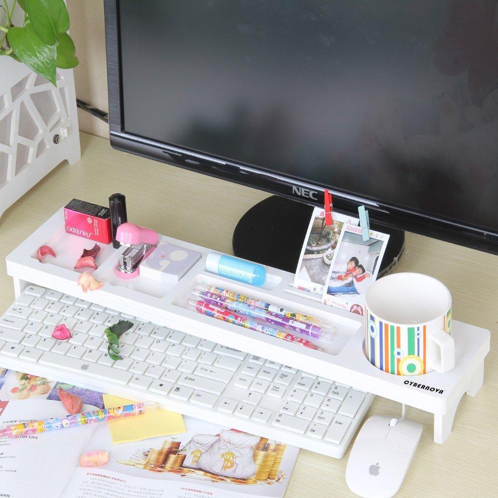 SODIAL Multifunction Desktop Computer Keyboard Storage Shelf Wooden Plastic Pen Beads Home Decor Hanger